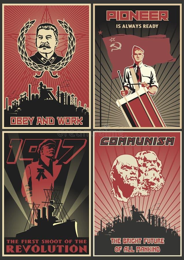 Set Radzieccy Propagandowi plakaty royalty ilustracja