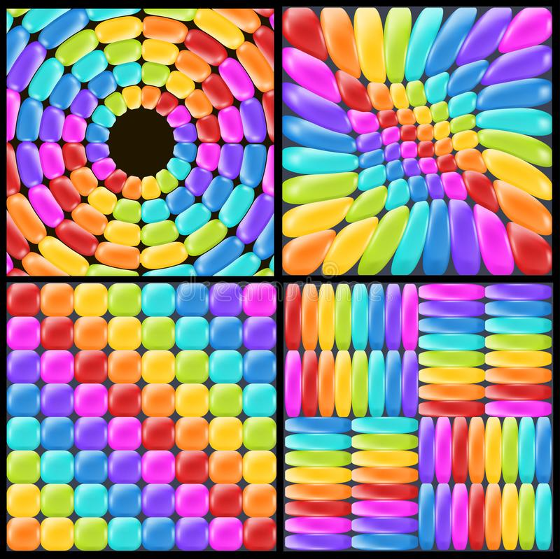 Set rainbow backgrounds with realistic glossy elements. Fun abstract backdrop for decor and selebration. royalty free illustration