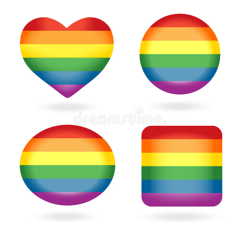 Download Set of rainbow buttons stock vector. Image of flag, peace - 23148258