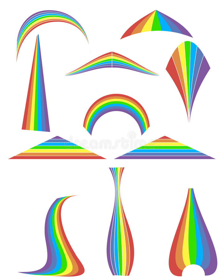 Download Set of 12 rainbow stock image. Image of curve, spiral - 33938557
