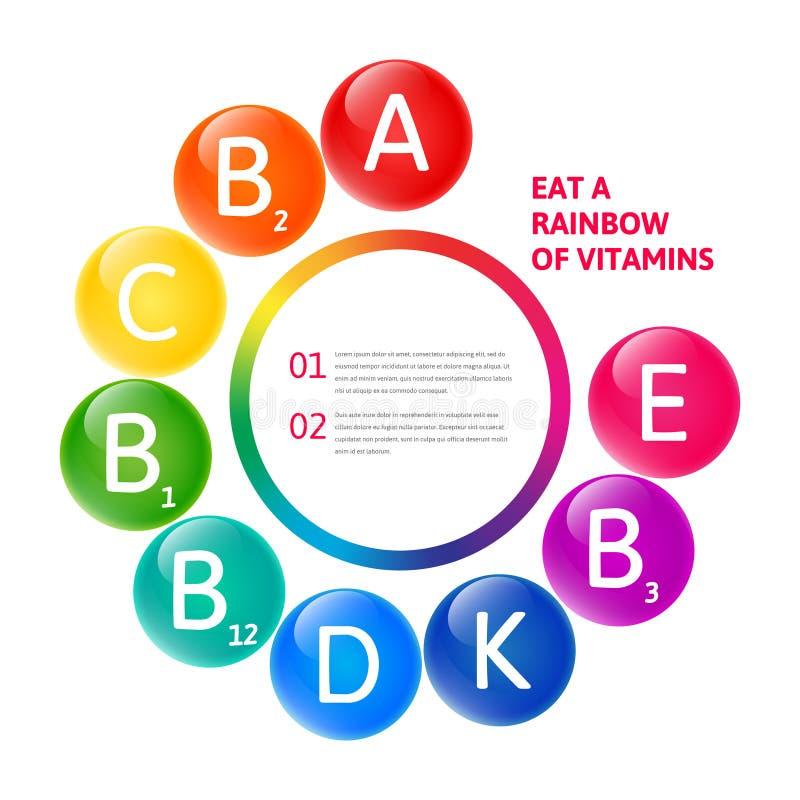 Set of the rainbow vitamins. Vector colorful set of the raibow colored bubble vitamins for your infographic. Circle illustration stock illustration