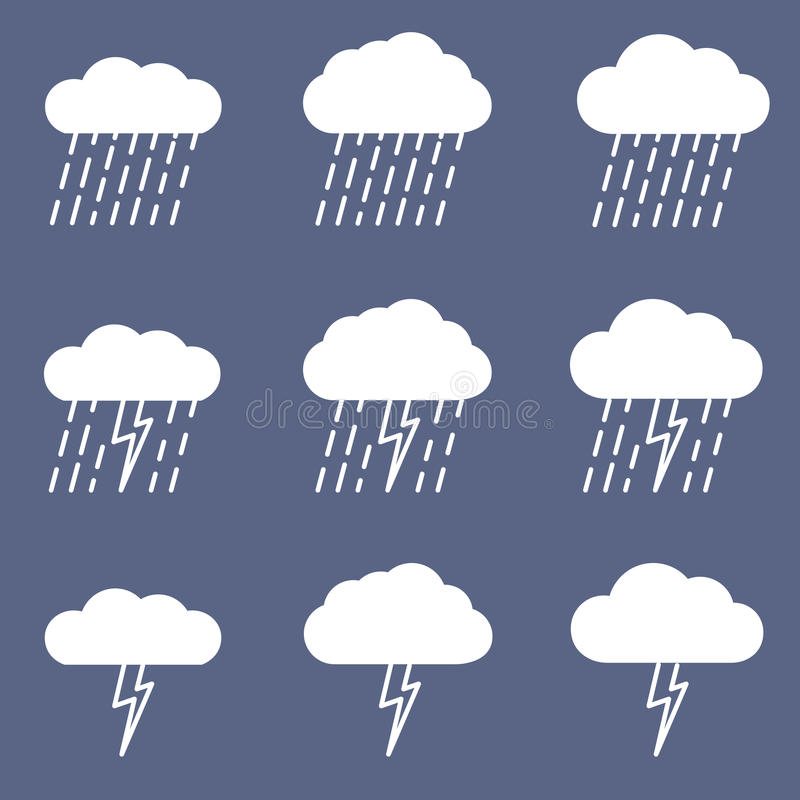 Set of rainy icon for weather or climate project. royalty free illustration
