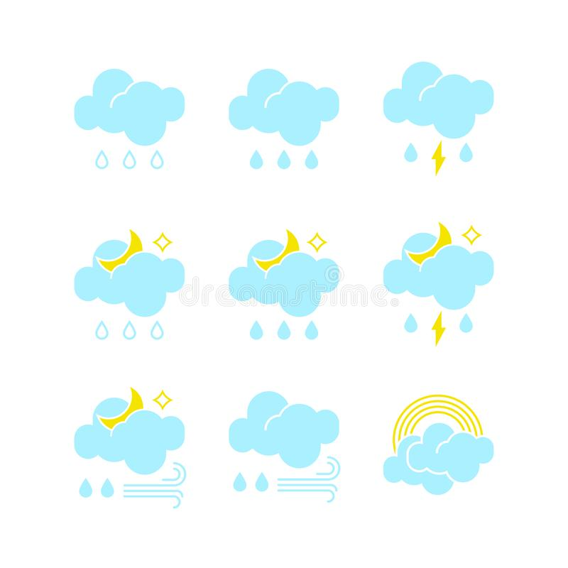 Set of rainy weather icons in vector to show the forecast and the current climate outside during the day and night time. For applications, widgets, and other vector illustration