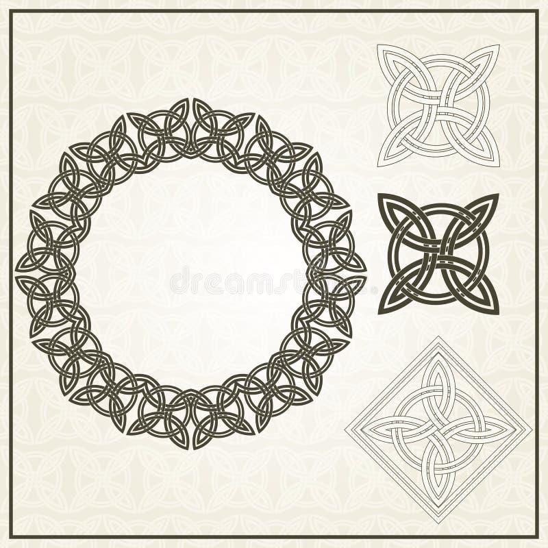Set rama i element dla projekta CELTYCCY MOTYWY ilustracja wektor