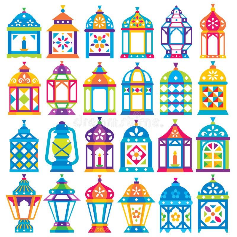 Set 24 Ramadan lampionu ilustracji