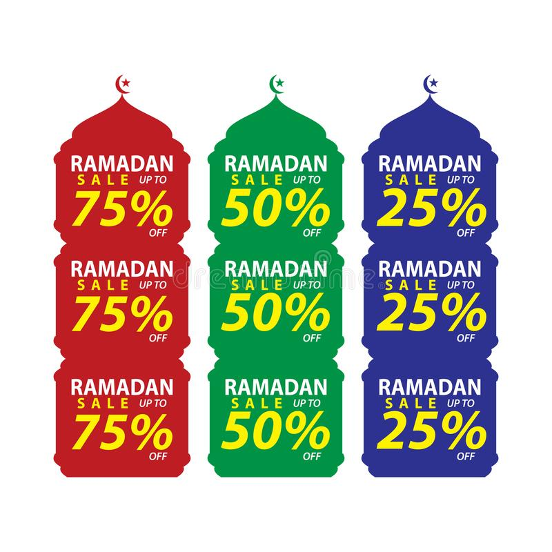 Set Ramadan sprzedaży projekta wektor, nowożytni szablon, Stosowny dla kartki z pozdrowieniami, sztandaru i plakata, ilustracja wektor