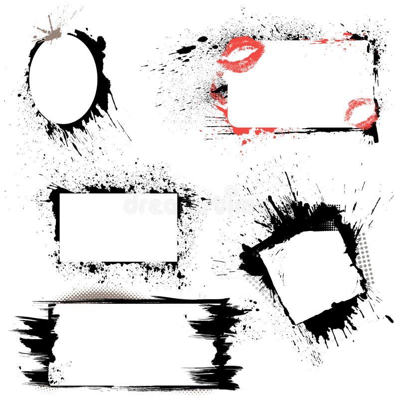 Set ramy - czerń kleksy i atramentów pluśnięcia. royalty ilustracja