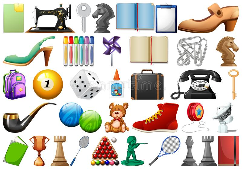 Set of random objects. Illustration royalty free illustration