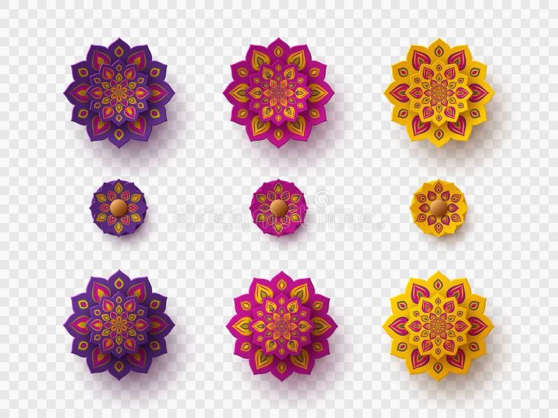Set rangoli dla Diwali festiwalu royalty ilustracja