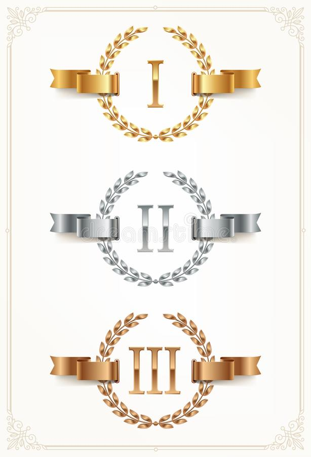 Set of rank emblems - gold, silver, bronze. First place, second place and third place signs with roman numerals. stock illustration