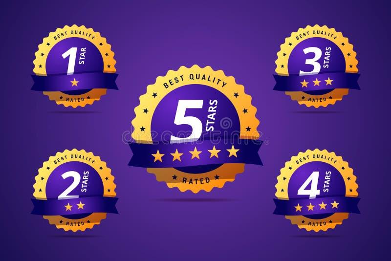 Set ratingowy znaczek, odznaka Hotelowa ocena ilustracji
