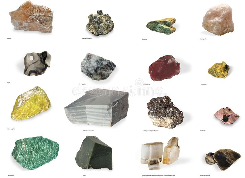 Set from raw minerals and ores with names isolated on white background. Collection of various minerals with names isolated on white background royalty free stock photography