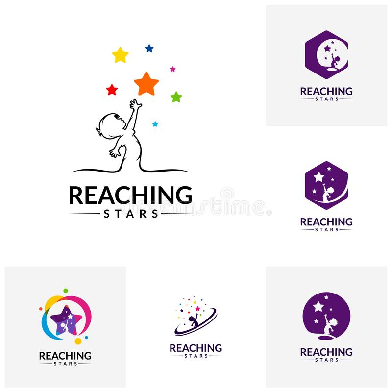 Set of Reaching Stars Logo Design Template. Dream star logo. Emblem, Colorful, Creative Symbol, Icon royalty free illustration