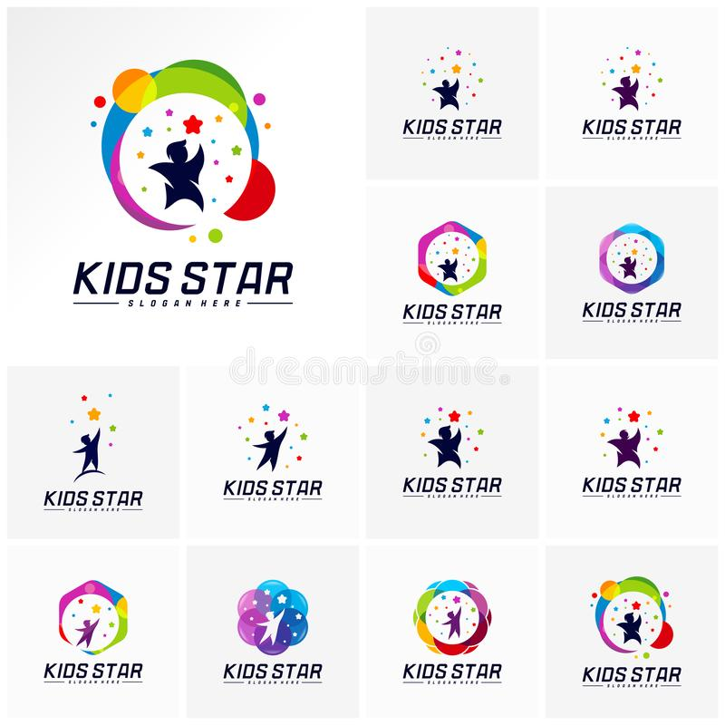 Set of Reaching Stars Logo Design Template. Dream star logo. Kids Star Concept, Colorful, Creative.  vector illustration