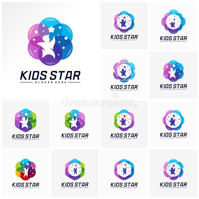 Set of Reaching Stars Logo Design Template. Dream star logo. Kids Star Concept, Colorful, Creative.  stock illustration