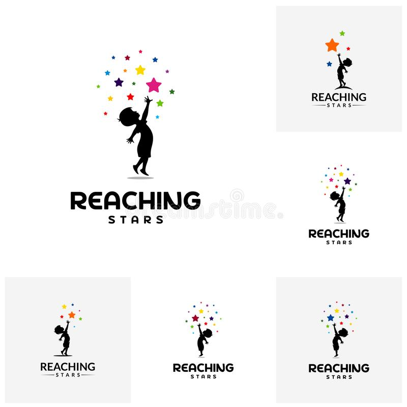 Set of Reaching Stars Logo Design Template. Dream star logo. Emblem, Colorful, Creative Symbol, Icon stock illustration