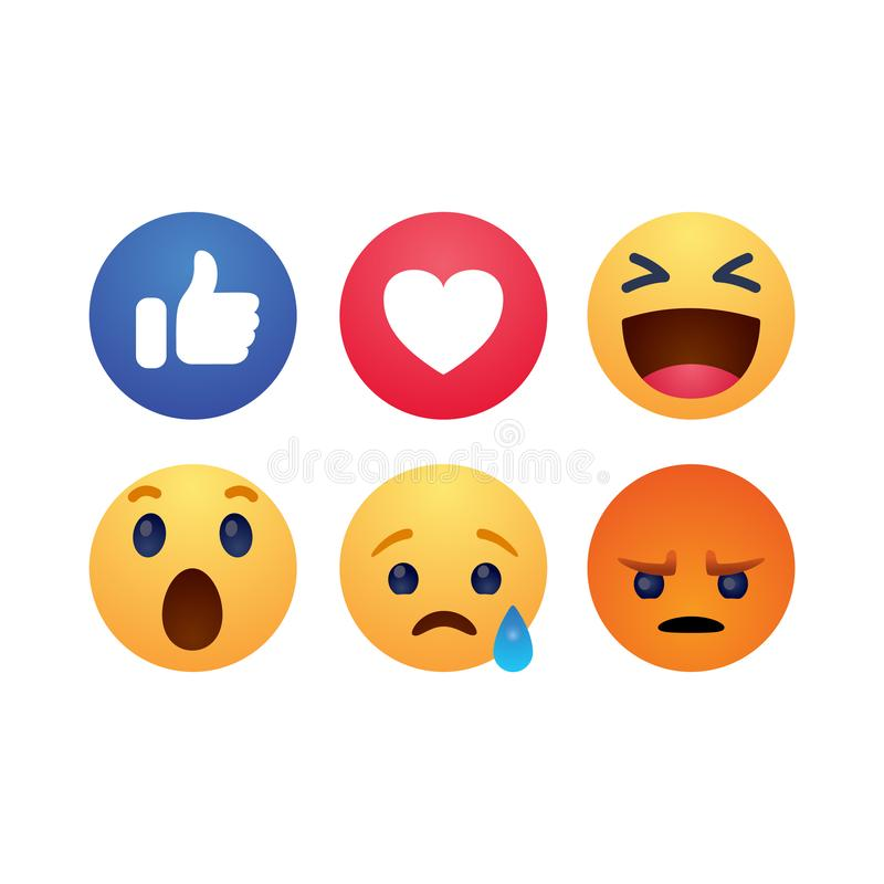 Set of reactions emotion buttons simple flat style vector illustration stock illustration