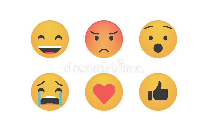 Set of reactions vector. Isolated on white background. Emoji vector. Smile icon collection. Reactions icon web stock illustration