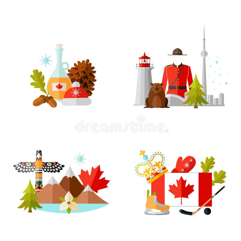 Set of ready-made composition on the theme of traveling to Canada. Vector. Set of compositions with symbols of Canada. Vector illustration in flat style on the royalty free illustration