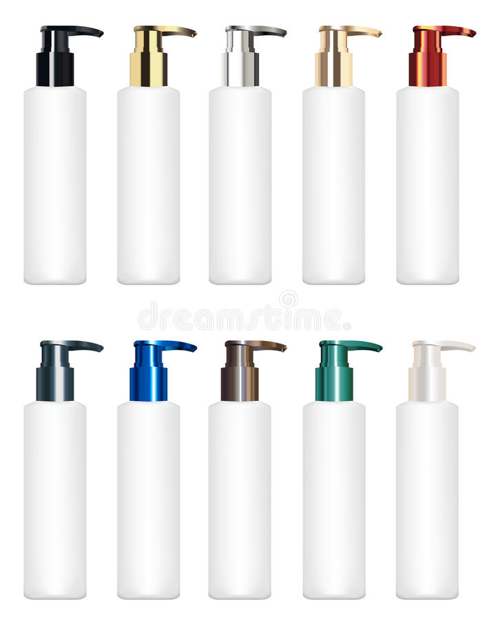 Set of a real colorful cosmetic tube vector royalty free illustration