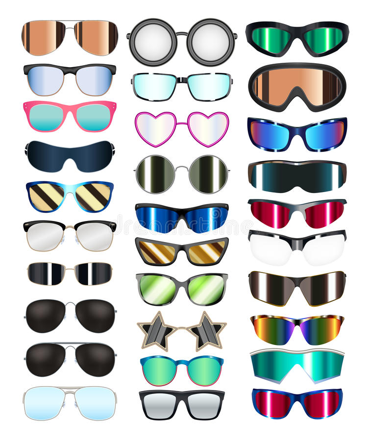 set of real colorful style glasses vector royalty free illustration