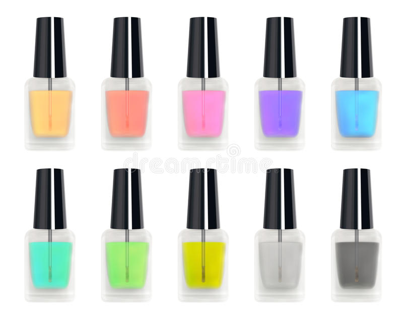 Set of a real 3d colorful nail polisher glass bottle stock illustration