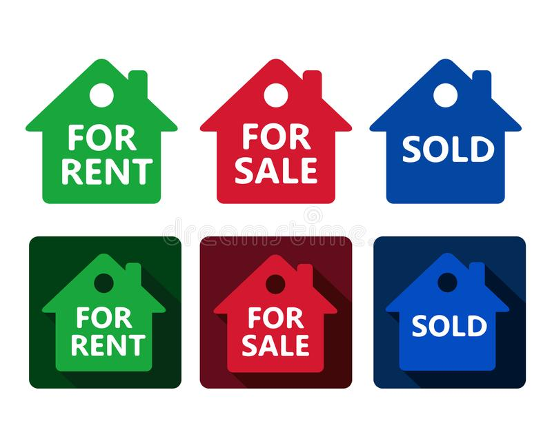 Set of real estate house icon red green and blue houses with tex stock illustration