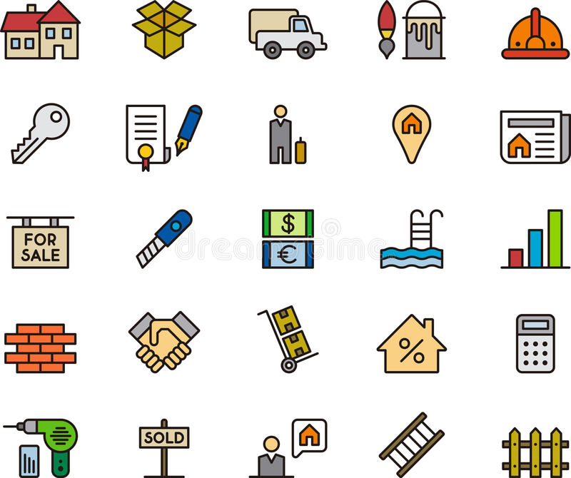 Set of real estate icons stock illustration