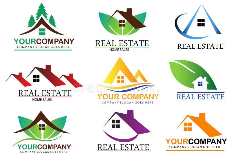 Set real estate logo design stock images