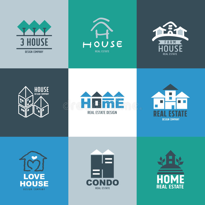 Set of Real estate Logo and Signs stock illustration