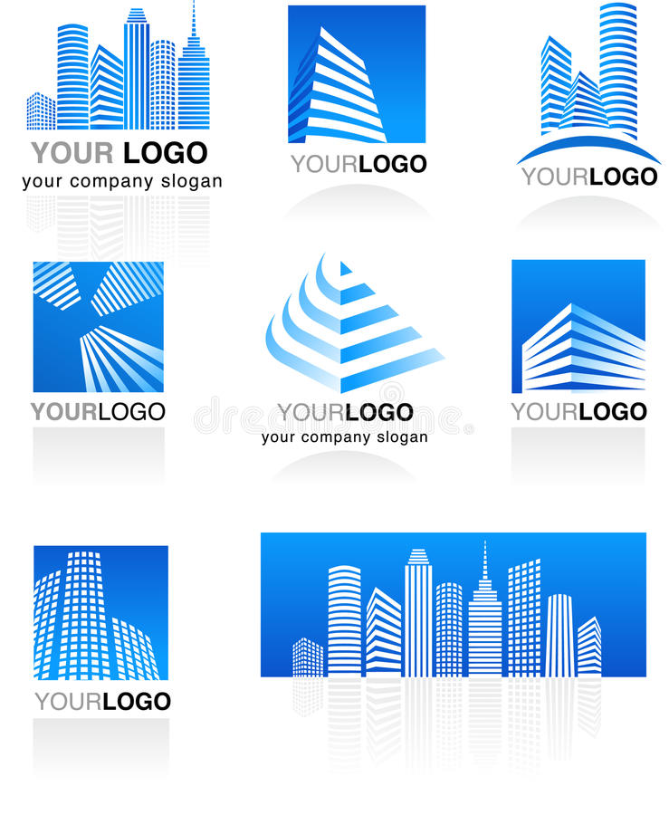 Set of real estate logos royalty free illustration
