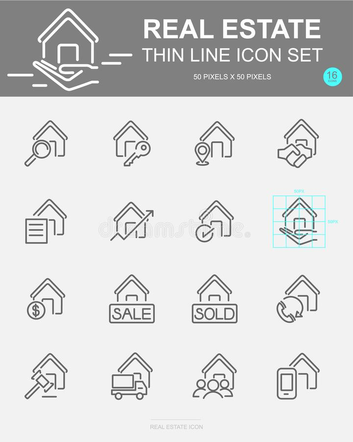 Set of Real Estate Vector Line Icons. Includes house, money, business, finance and more. 50 x 50 Pixel royalty free illustration