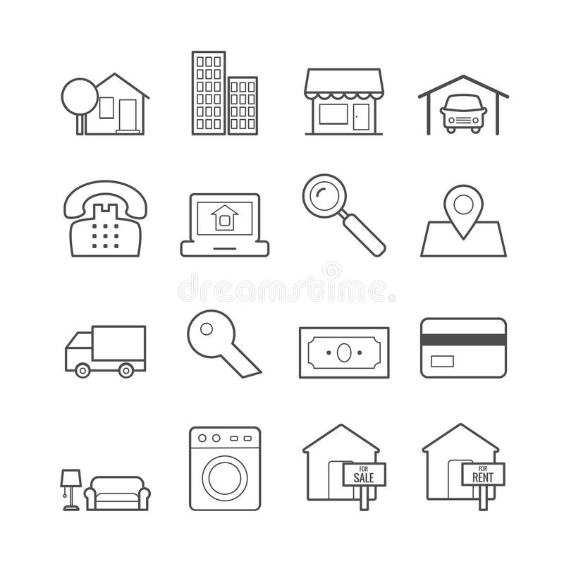 Set of real estate vector line icons for web, print, mobile apps stock illustration
