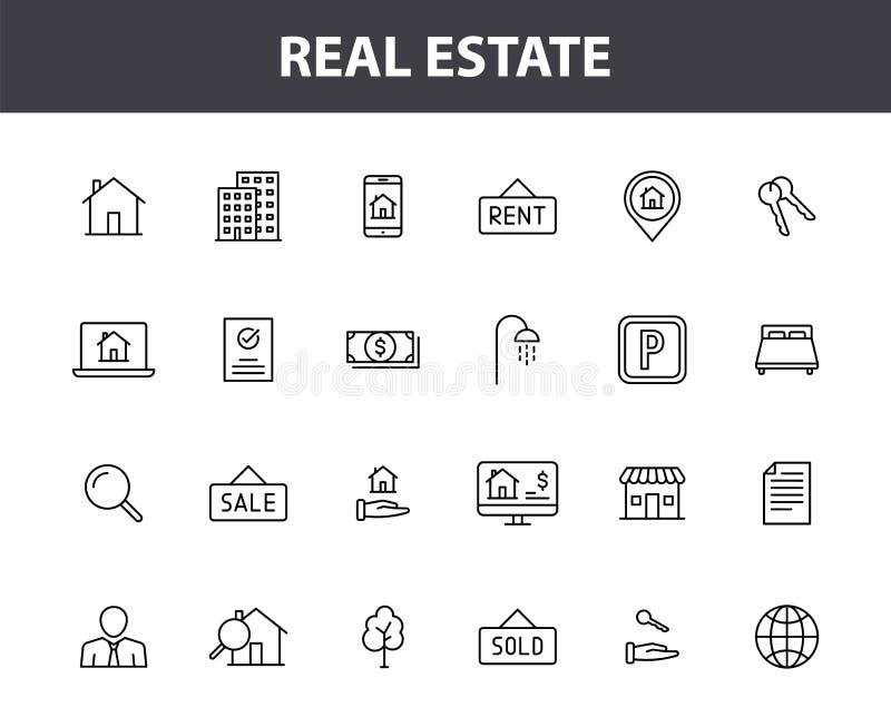 Set of 24 Real Estate web icons in line style 租金、楼宇、代理、房屋、拍卖、房地产 矢量插图 皇族释放例证