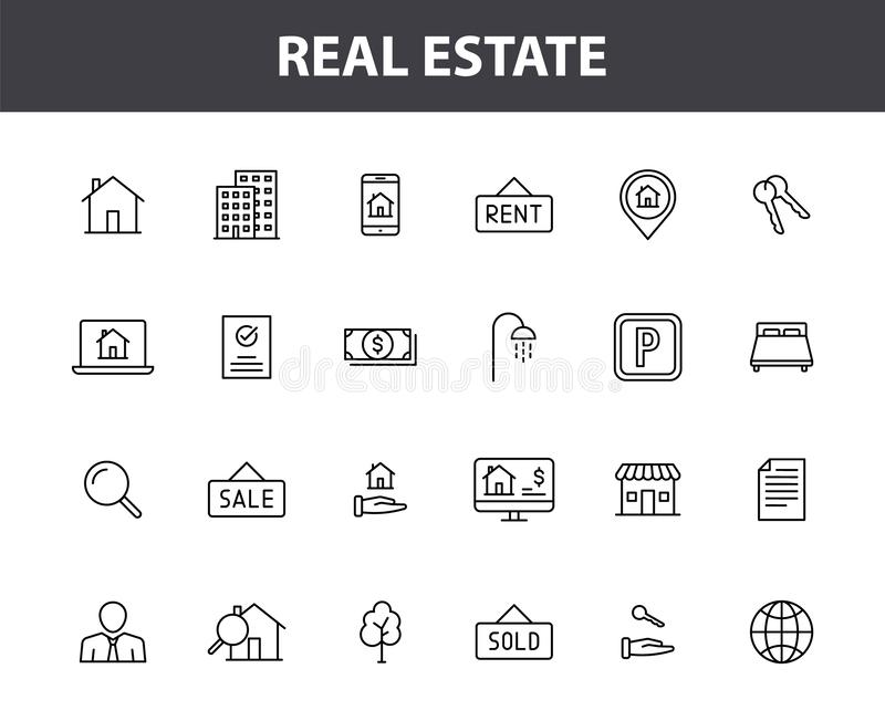 Set of 24 Real Estate web icons in line style. Rent, building, agent, house, auction, realtor. Vector illustration. royalty free illustration
