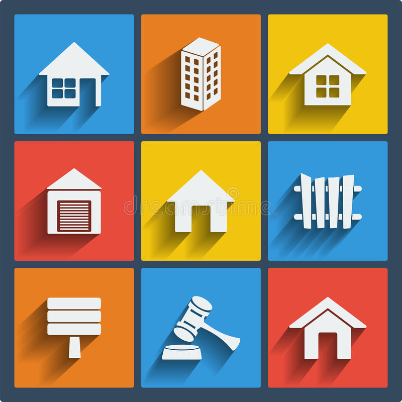 Set of 9 real estate web and mobile icons. Vector. royalty free illustration