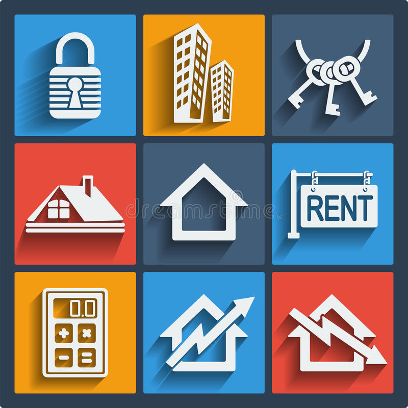 Set of 9 real estate web and mobile icons. Vector. stock photos