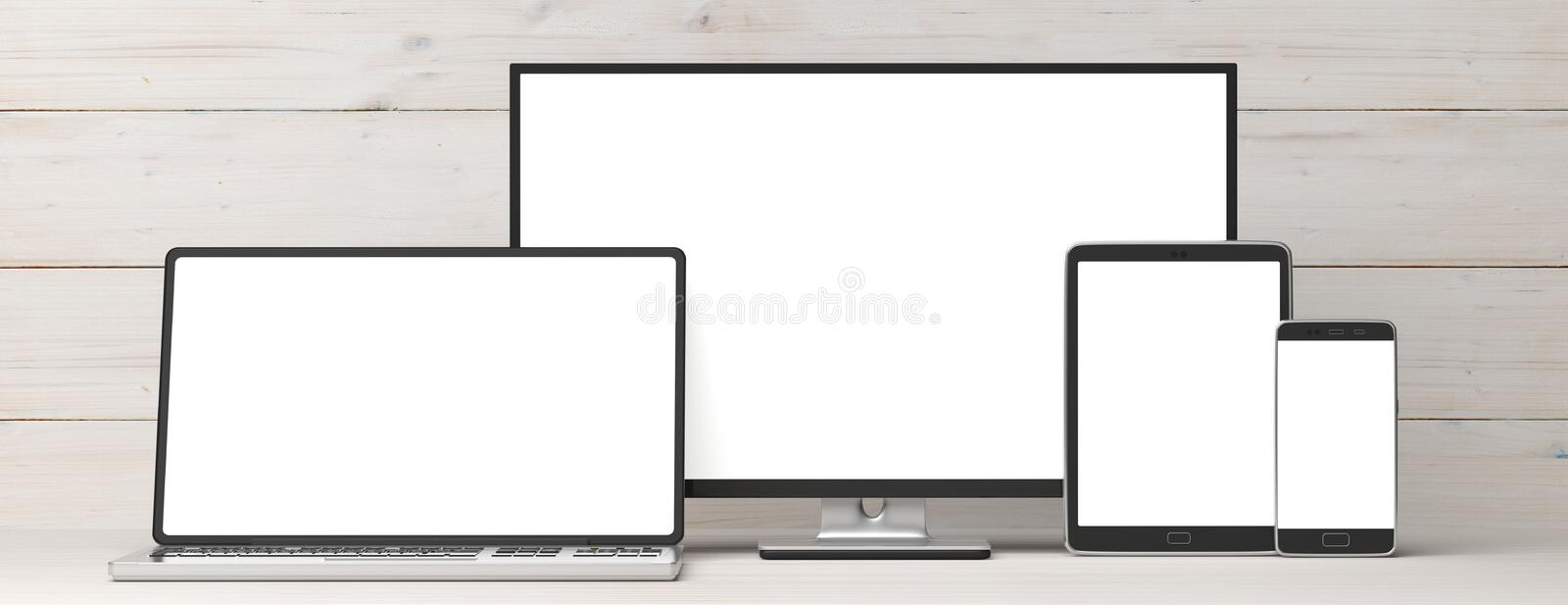 Set of realistic blank monitors. Computer monitor, laptop, tablet and smartphone on wooden background, copy space. 3d illustration royalty free illustration