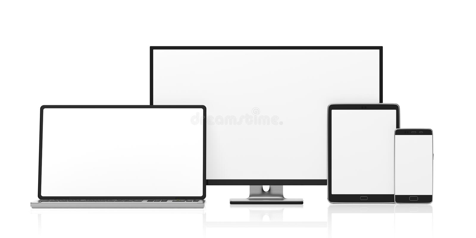 Set of realistic blank monitors. Computer monitor, laptop, tablet and smartphone isolated on white background, copy space. 3d illu stock illustration