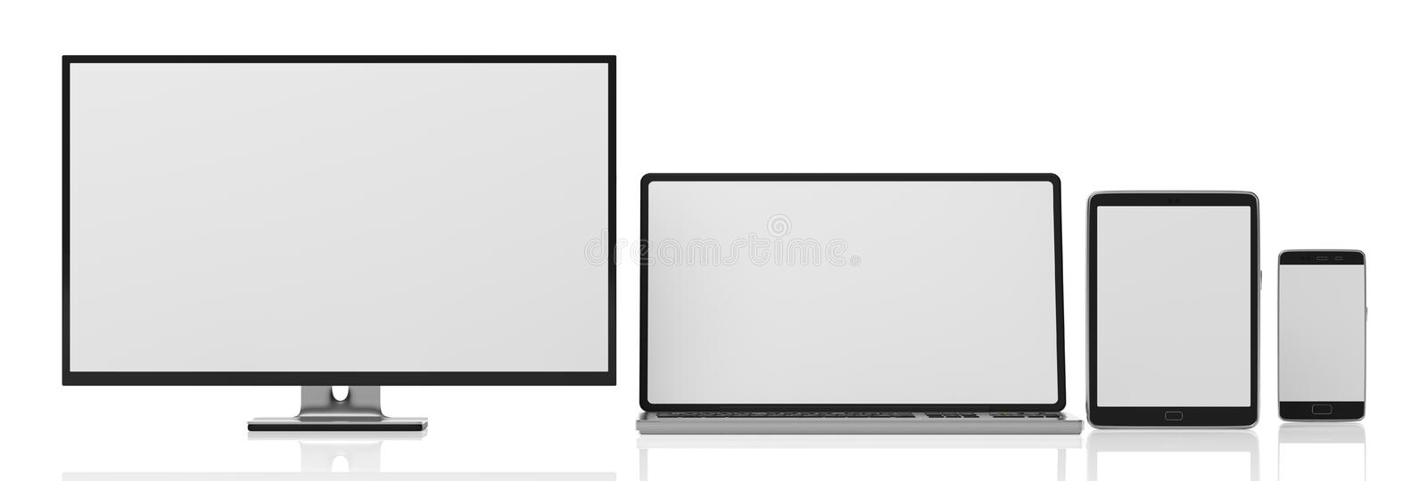 Set of realistic blank monitors. Computer monitor, laptop, tablet and smartphone isolated on white background, copy space. 3d illu. Set of realistic blank royalty free illustration
