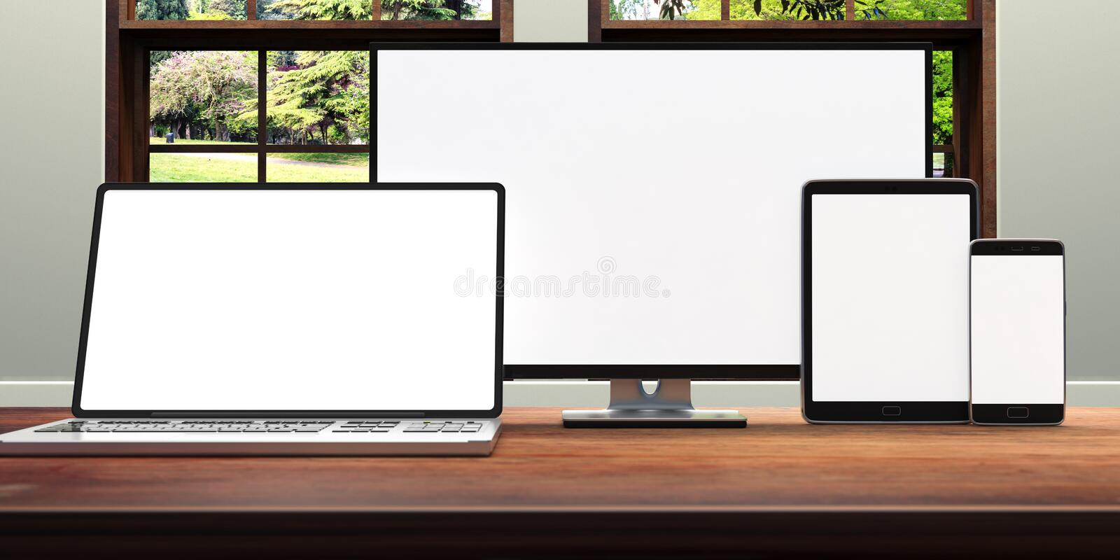 Set of realistic blank monitors. Computer monitor, laptop, tablet and smartphone on wooden desk, nature out of the window. 3d illu royalty free illustration
