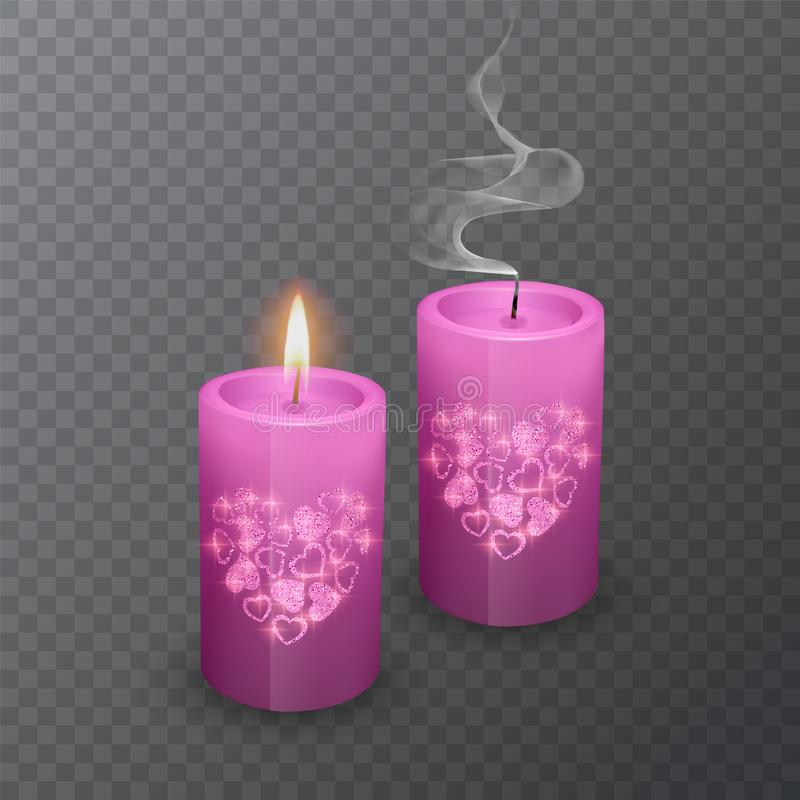 Set of realistic candles of pink color with a shiny coating of hearts, suitable for a romantic dinner, candles burning and. Extinguished on a transparent vector illustration