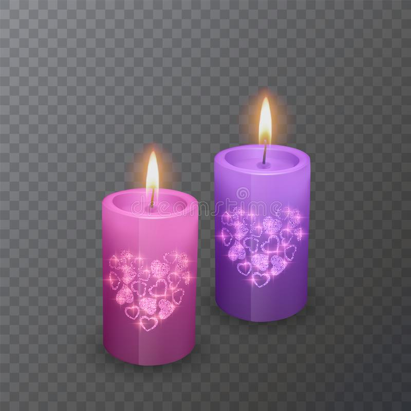 Set of realistic candles of pink and violet colors with a shiny coating of hearts, suitable for a romantic dinner, candles burning stock illustration
