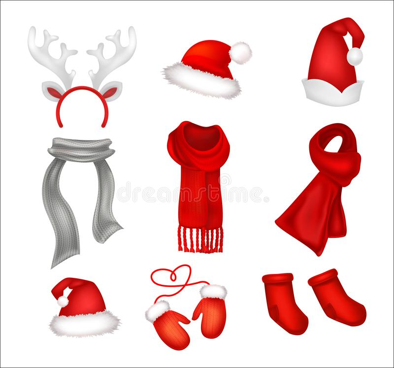 Set of realistic Christmas decorations. Santa`s hat, gloves, sca stock illustration