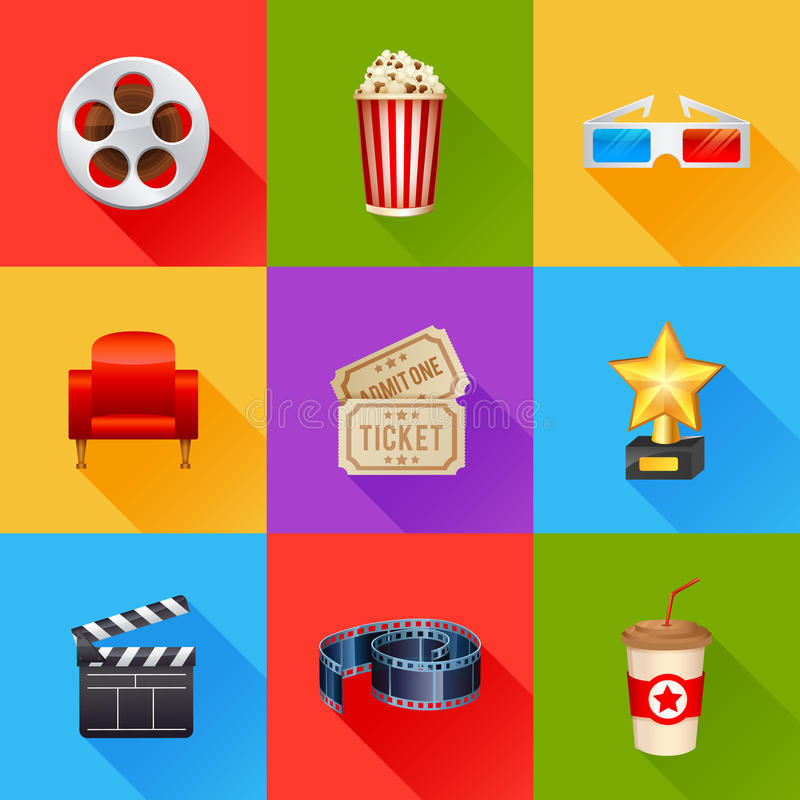 Set of realistic cinema icons. A detailed set of realistic cinema icons for web and design with movie symbols, 3D glasses, film reel, popcorn, tickets royalty free illustration