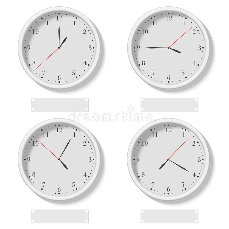 Set of realistic classic round clocks showing various time. World time clock, different time zone vector illustration. royalty free illustration