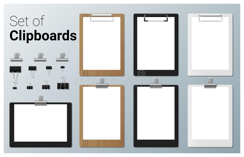 Set of realistic clipboards royalty free illustration