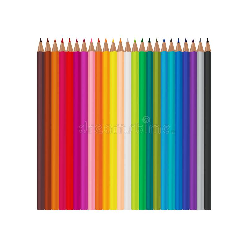 Set of 24 realistic colored pencils isolated on a white background. Vector illustration. EPS 10 royalty free illustration