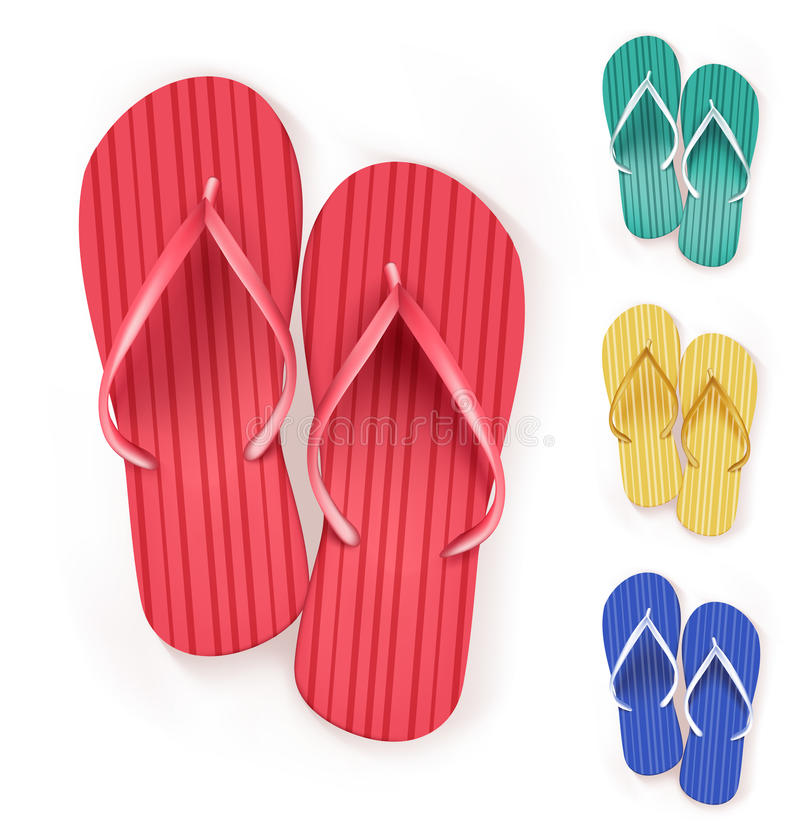 Set of Realistic Colorful Flip Flops Beach Slippers stock illustration