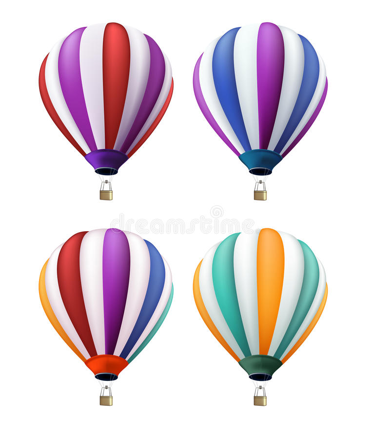 Set of Realistic Colorful Hot Air Balloons Flying vector illustration